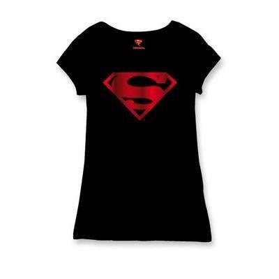superman t shirt femme supergirl red logo m bleu. Black Bedroom Furniture Sets. Home Design Ideas
