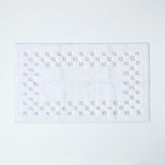 tapis de bain piqu 233 de carreaux 45 x 75 cm coloris blanc achat vente tapis de bain
