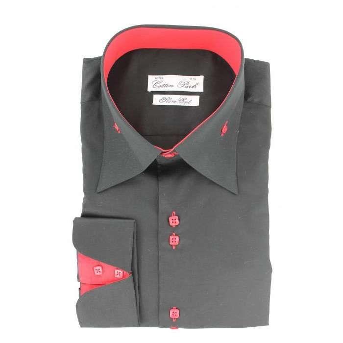 Cotton park chemise fashion cintr e rouge et noire - Chemise homme fashion coupe italienne cintree ...