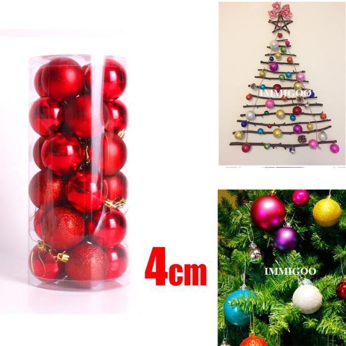4cm 24 pi ces boule pour sapin noel guirlandes boule d co for Achat decoration de noel