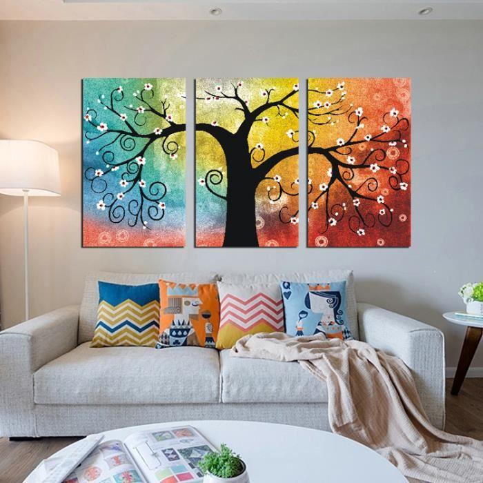 sans cadre accueil art d coratif peinture peinture murale canevas jet d 39 encre arbre fleurs 3. Black Bedroom Furniture Sets. Home Design Ideas