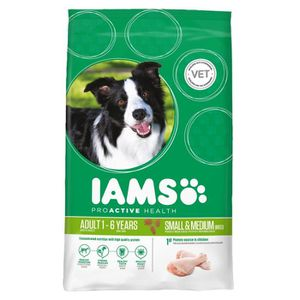IAMS Croquettes au poulet - Petite et moyenne race - 3kg - Pour chien adulte
