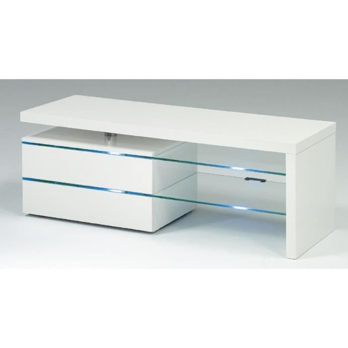 Meuble tv laqu blanc lumineux design city blanc achat vente meuble tv - Meuble tv design lumineux ...