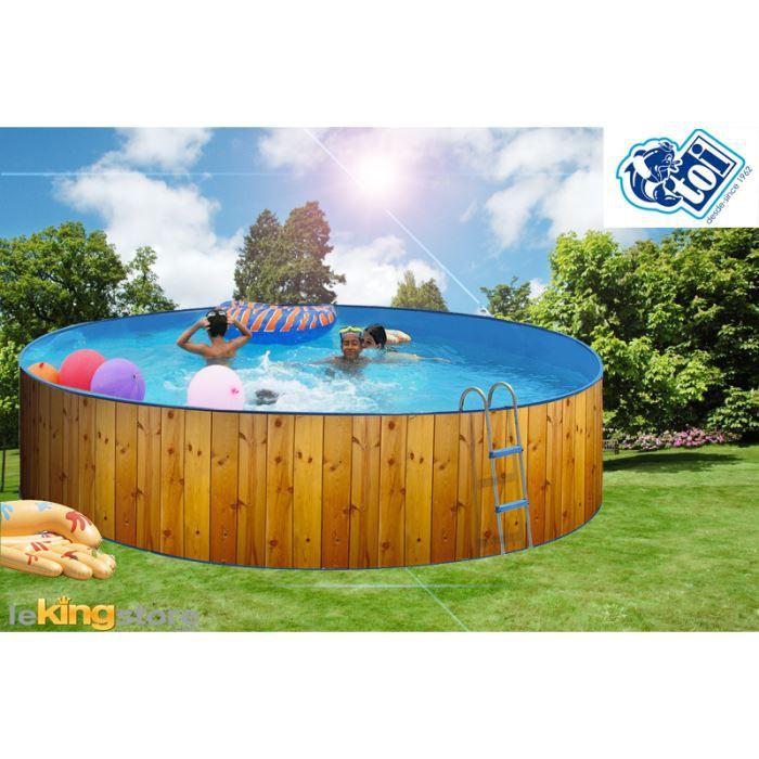 piscine ronde veta acier d coration bois 350 x achat. Black Bedroom Furniture Sets. Home Design Ideas