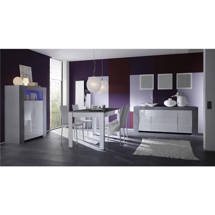 salle manger complte blanc laqu et couleur bois gris moderne - Salle Manger Laque Bi Couleur