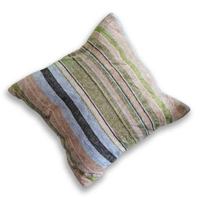housse de coussin rayure vert et marron 40 x 40 cm achat vente housse de coussin cdiscount. Black Bedroom Furniture Sets. Home Design Ideas