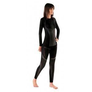cale on long sport femme perfor noir liseret violet gris. Black Bedroom Furniture Sets. Home Design Ideas