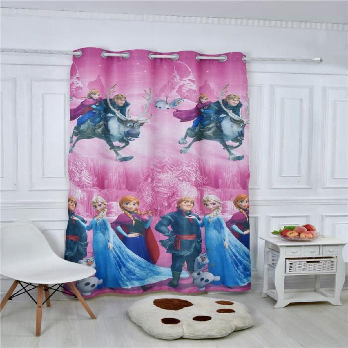 rideau illets occultant frozen rose enfant 140x260 cm achat vente rideau de douche. Black Bedroom Furniture Sets. Home Design Ideas