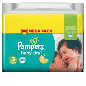COUCHE PAMPERS Baby Dry Taille 3 - 5 à 9 kg - 100 couches
