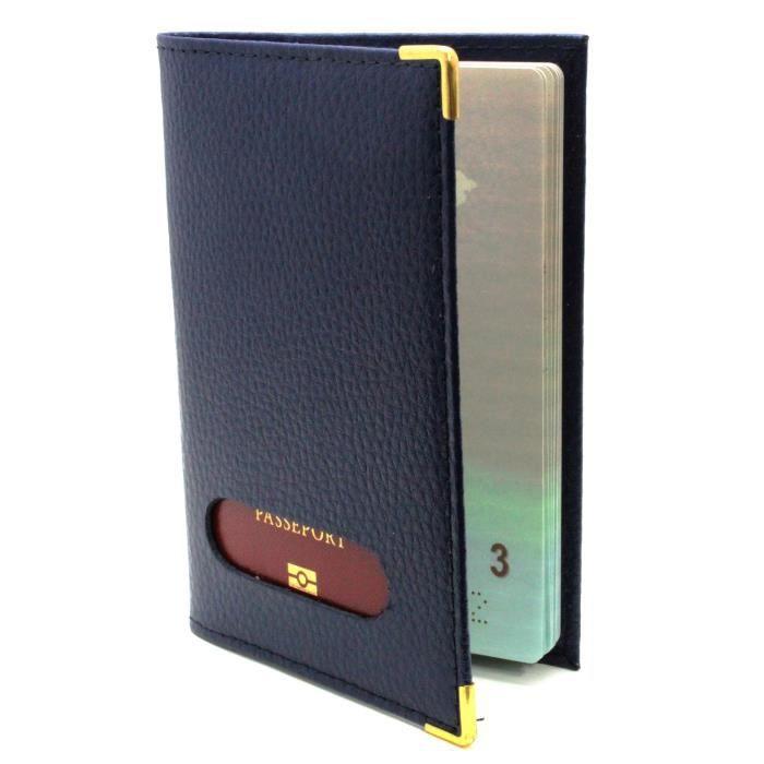 tui pour passeport en cro te de cuir bleu bleu bleu achat vente porte papiers. Black Bedroom Furniture Sets. Home Design Ideas