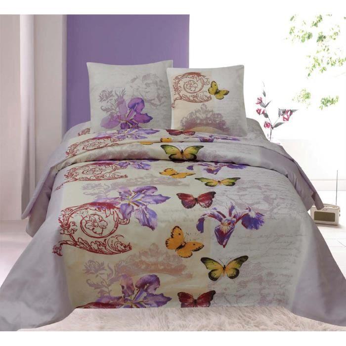housse de couette papillons pour lit 2 personnes 2 taies achat vente housse de couette. Black Bedroom Furniture Sets. Home Design Ideas