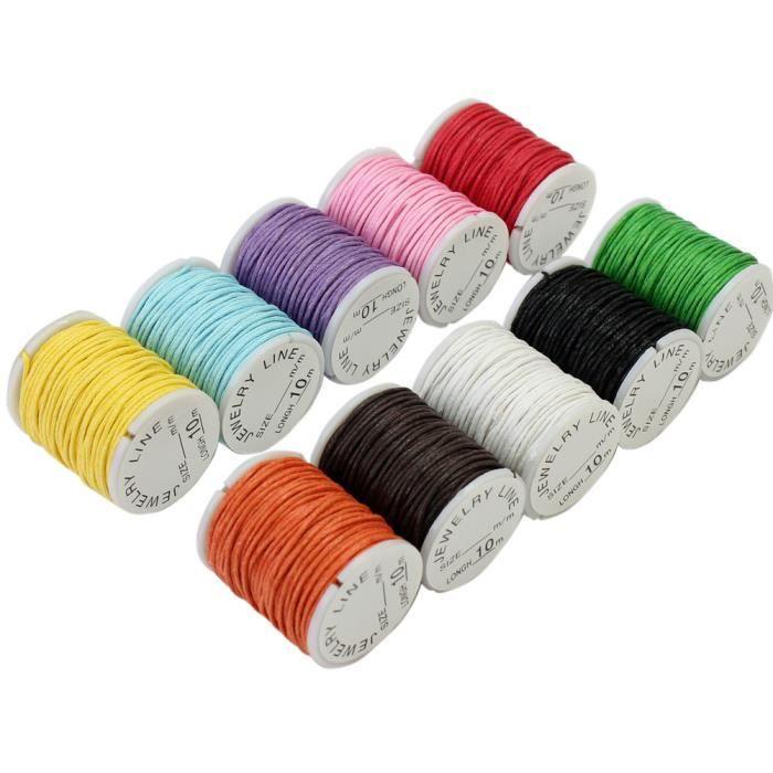 10 rouleau fil cordon corde cir pour collier sautoir bracelet bricolage achat vente. Black Bedroom Furniture Sets. Home Design Ideas