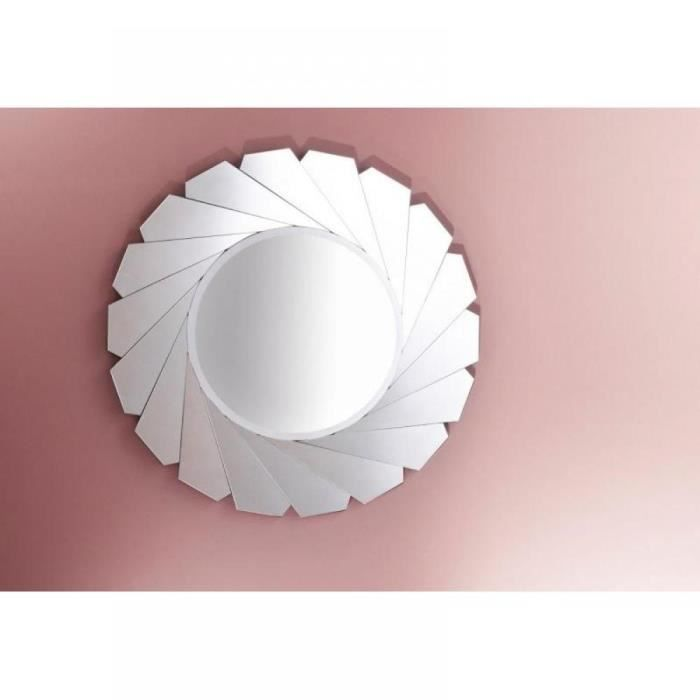 Opale miroir mural design rond en verre biseaut achat for Miroir xxl rond