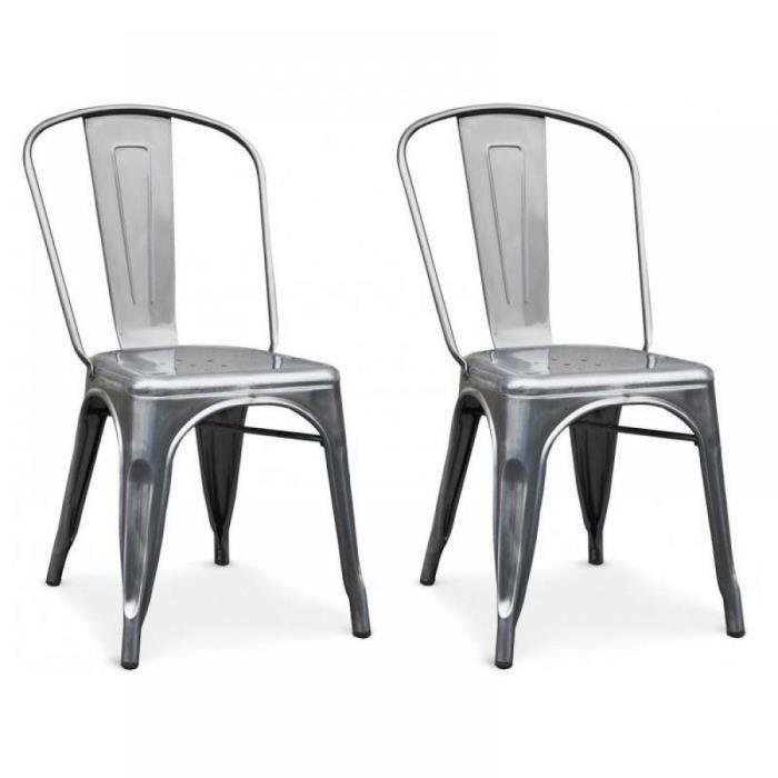 Lot de 2 chaises industry en acier chrom achat vente chaise cdiscount for Chaise en acier poitiers