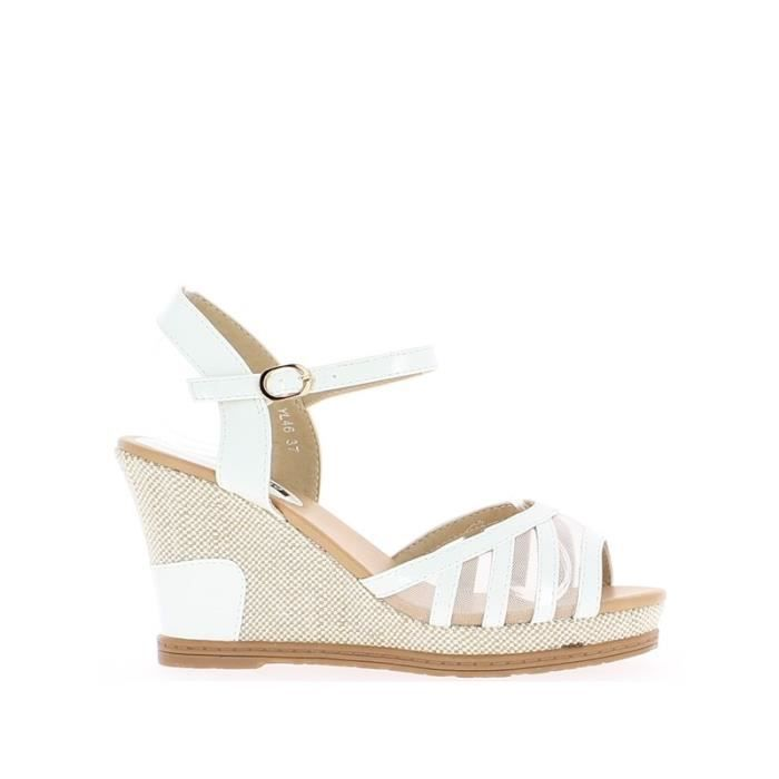 sandales compens es blanches ver blanc achat vente sandale nu pieds cdiscount. Black Bedroom Furniture Sets. Home Design Ideas