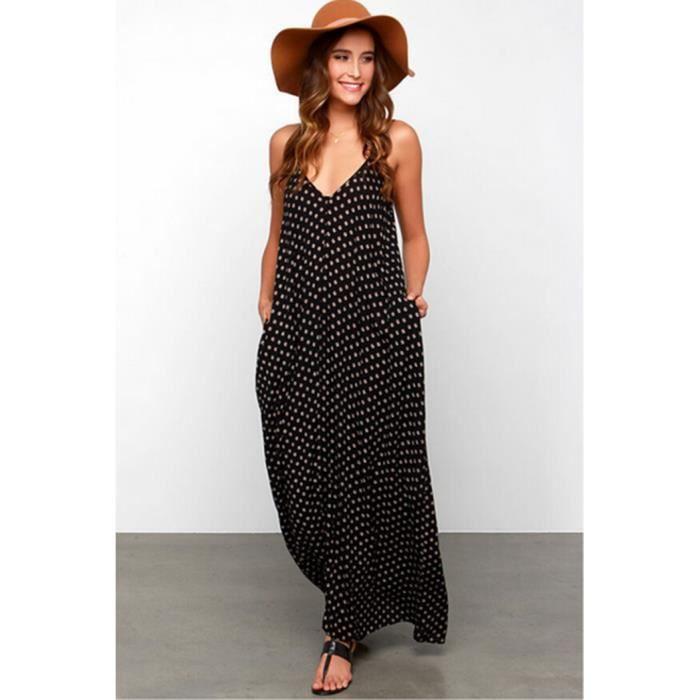 robe longue maxi et sans manches fleur plage col v beach. Black Bedroom Furniture Sets. Home Design Ideas