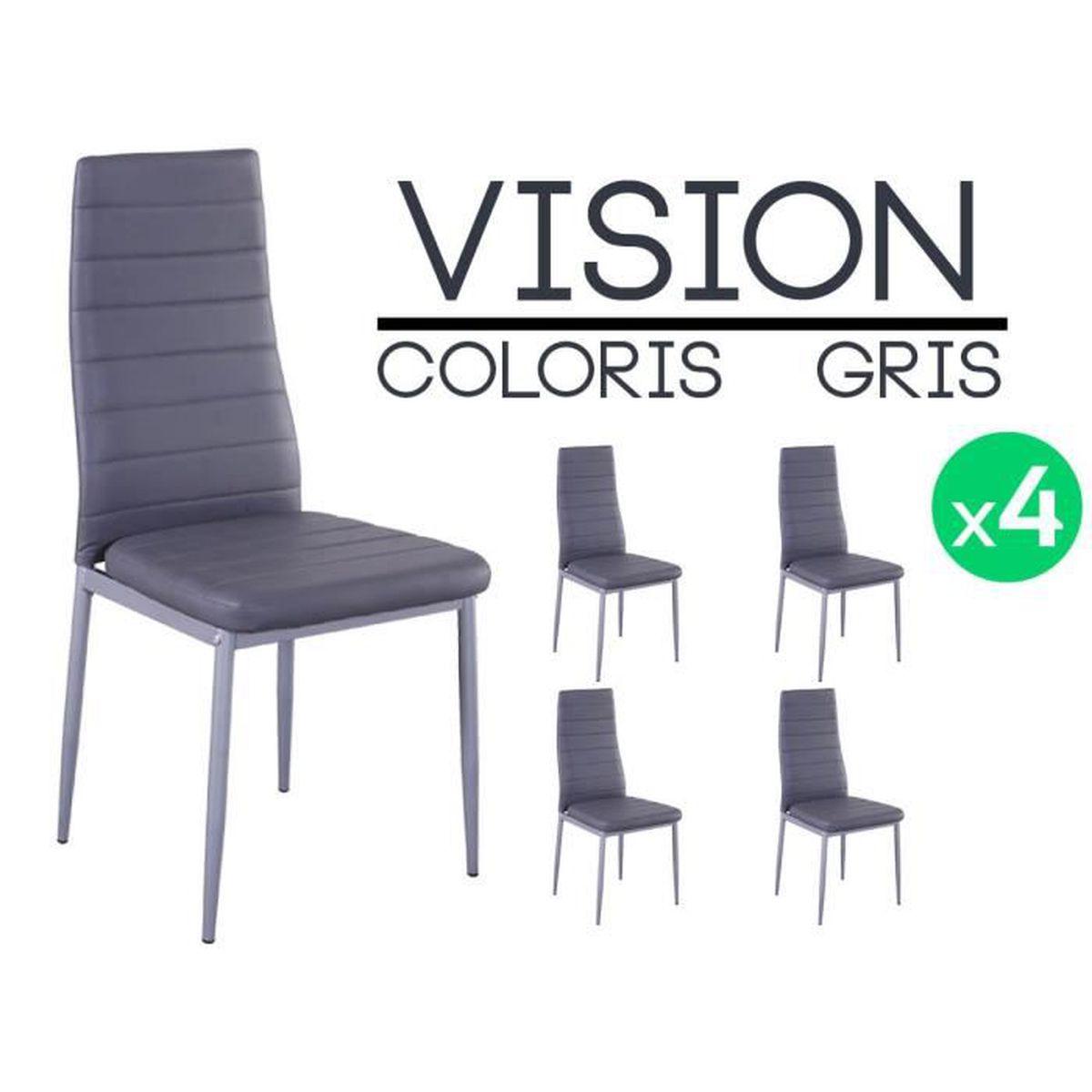 vision lot de 4 chaises grises achat vente chaise gris les soldes sur cdiscount cdiscount. Black Bedroom Furniture Sets. Home Design Ideas