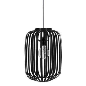 Lustre - suspension lamelles forme cylindrique ?26 cm noire E27 40W
