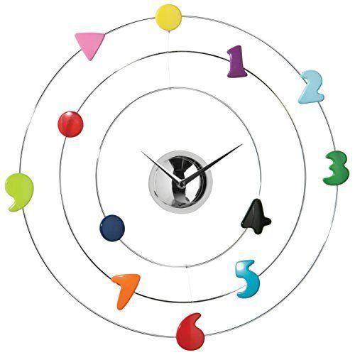 Premier housewares 2200475 horloge murale chrom avec des chiffres multicolore achat vente for Horloge murale multicolore