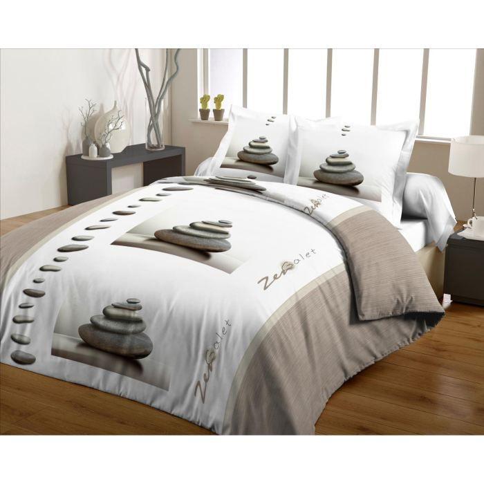 casatxu housse 240x260cm 2 taies zen galets taup achat vente parure de couette cdiscount. Black Bedroom Furniture Sets. Home Design Ideas