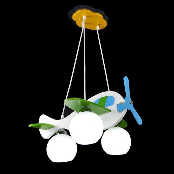 Avion de bande dessin e blanche gar ons lampe suspension for Suspension chambre d enfant