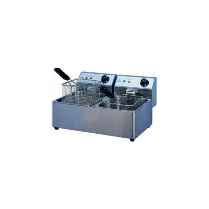 Friteuse electrique de table 2 bacs 2x6l 2x3kw achat - Table elevatrice electrique occasion ...