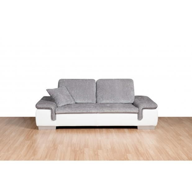 Canap ami 2 places couleur blanc gris achat vente for Canape 2 couleurs