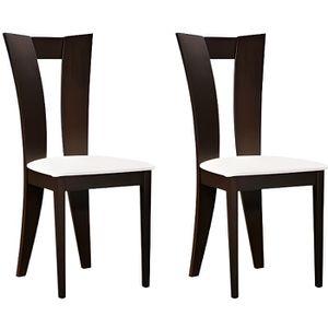 CHAISE Lot de 2 chaises TIFFANY - Hêtre massif wengué - a