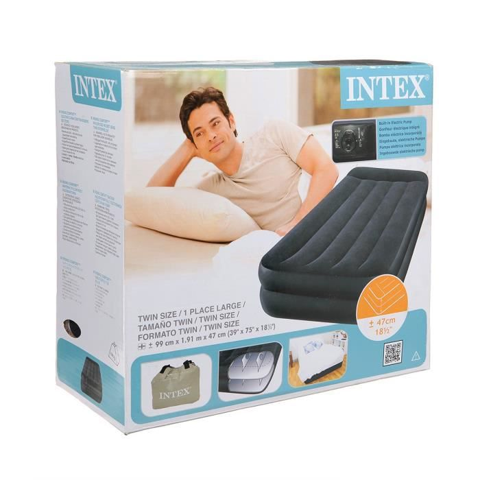 Intex lit gonflable 1 place rest bed gonfleur achat vente lit gonflable - Lit electrique 1 place ...