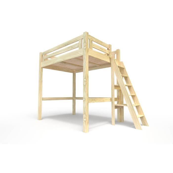 Lit mezzanine alpage bois chelle hauteur r glable brut 160x200 achat - Lit mezzanine semi hauteur ...