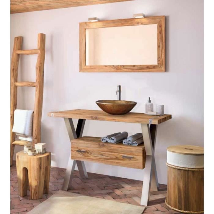 Meuble salle de bain poser empreinte 110 cmtabouret panier echelle teck - Meuble salle de bain 110 cm ...