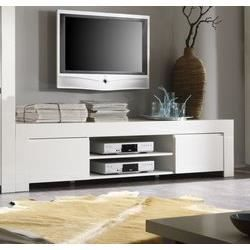 Meuble tv blanc laqu design pietra l140 x p45 x h45 cm - Meuble tv grande taille ...