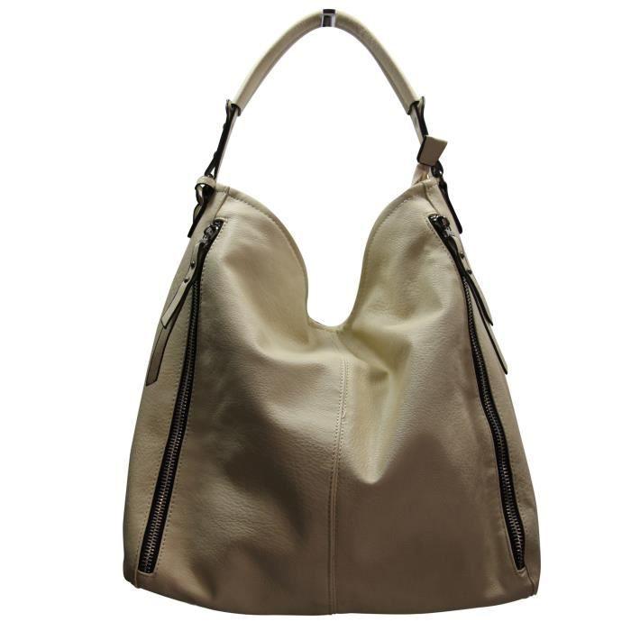 Sac A Main Beige Grand : Grand sac ? main beige simili cuir avec fermetures ?clair