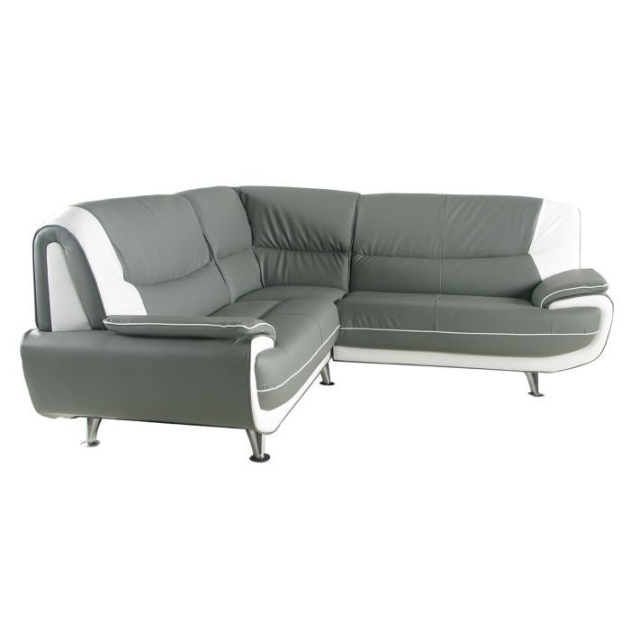 Canap d 39 angle gris et blanc palermo achat vente for Canape d angle grande taille