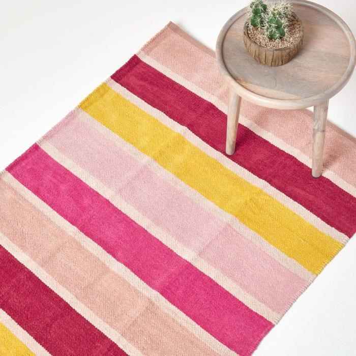 Tapis ray coton chenille rose beige rouge jaune rose bonbon 60 x 100 cm achat vente tapis for Tapis raye noir beige