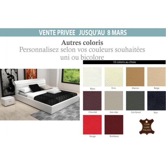 lit design en cuir italien de luxe spirit blanc 140x190 achat vente structure de lit. Black Bedroom Furniture Sets. Home Design Ideas