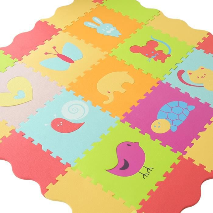 Tapis 9 dalles animaux couleurs pastel et vives l 32 x l 1 2 x h 32 cm - Tapis couleur pastel ...