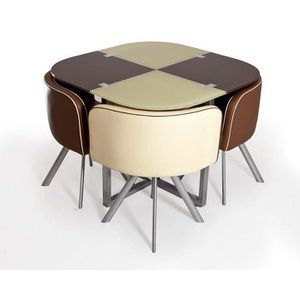 Table damier choco beige 4 chaises achat vente table for Table et chaise sejour