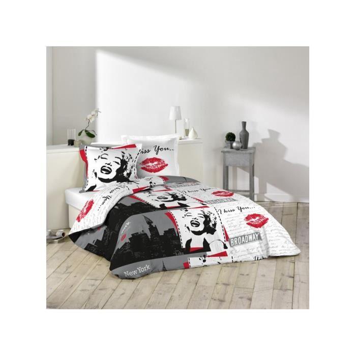 parure housse de couette 2 taies 240x220 cm marilyn monroe quotes. Black Bedroom Furniture Sets. Home Design Ideas