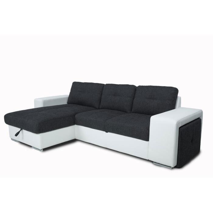Canap d 39 angle convertible noir et blanc pu et tissu mario - Canape noir et blanc convertible ...