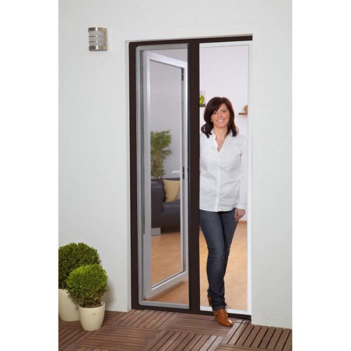 Moustiquaire portes enroulables l160xh220cm marron achat vente moustiquaire ouverture Moustiquaire pour porte fenetre