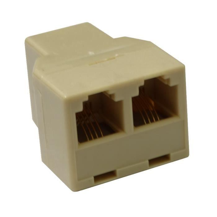 aerzetix multiprise double rj11 6p4c pour c ble cordon. Black Bedroom Furniture Sets. Home Design Ideas