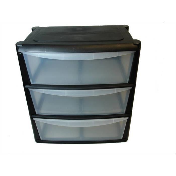 Unit de rangement en plastique avec 3 tiroirs larges for Meuble tiroir plastique