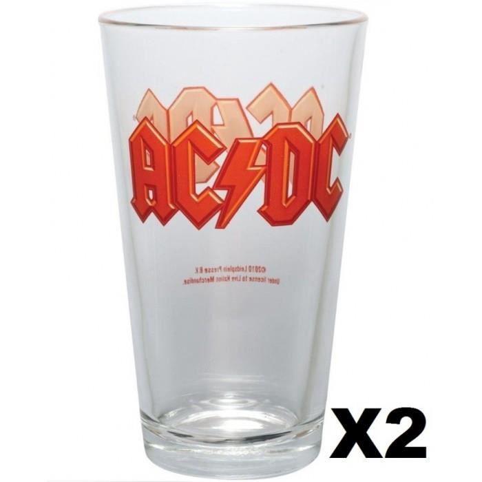 lot de 2 verres biere acdc groupe hard rock beer glass achat vente verre bi re cidre. Black Bedroom Furniture Sets. Home Design Ideas