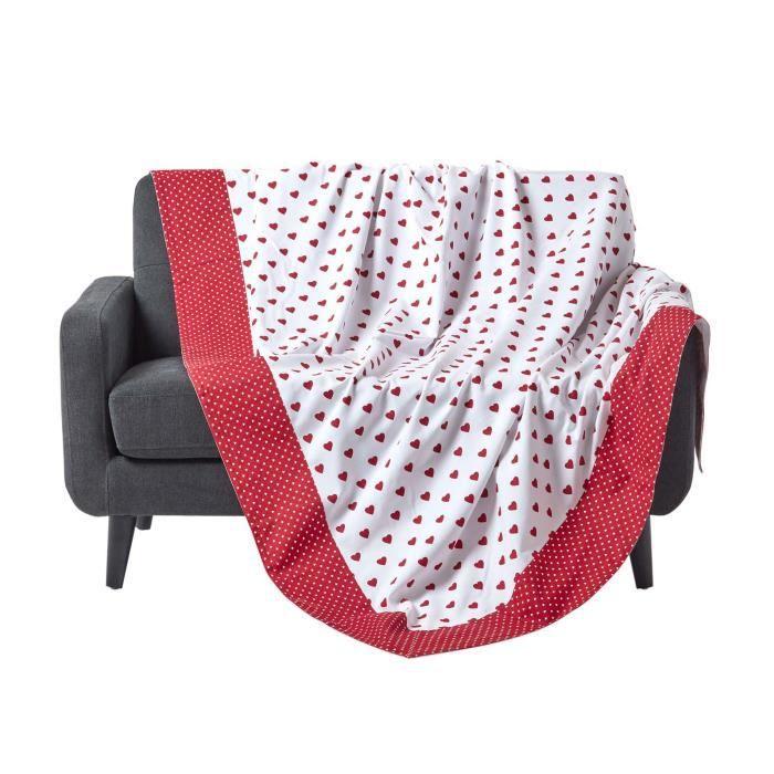 jet de lit ou de canap coeurs rouge achat vente jet e de lit boutis cdiscount. Black Bedroom Furniture Sets. Home Design Ideas
