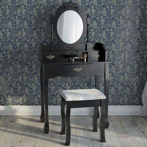 COIFFEUSE Coiffeuse noire avec tabouret et miroir ovale