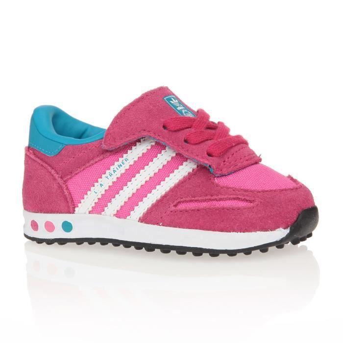 adidas baskets la trainer chaussures b b fille rose blancet bleu achat vente basket. Black Bedroom Furniture Sets. Home Design Ideas