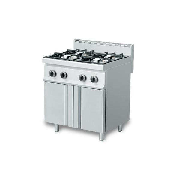 Fourneau gaz professionnel 100 acier inox 4 br leurs - Table de cuisson professionnelle ...