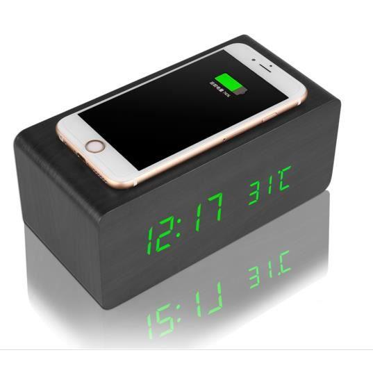 moderne cube bois alarme led horloge num rique contr le. Black Bedroom Furniture Sets. Home Design Ideas