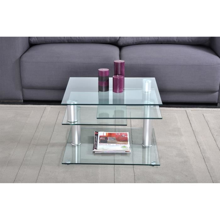 Table basse 3 plateaux en verre nozo achat vente table - Table basse 3 plateaux ...